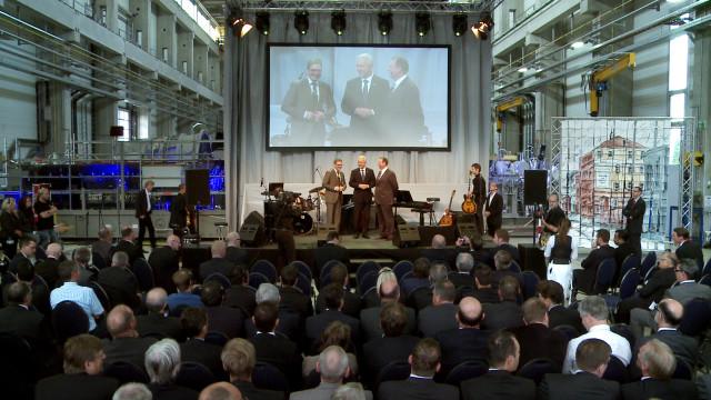 """""""Begrüßung der Gäste von Uwe Wittig (Standortleiter), Stanislaw Tillich (Ministerpräsident Sachsen) und Michael Süß (CEO SIEMENS Energy)"""""""